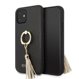 Guess iPhone 11 Saffiano Ring Hülle schwarz GUHCN61RSSABK