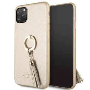 Guess iPhone 11 Pro Max Saffiano Ring Hülle Gold GUHCN65RSSABE