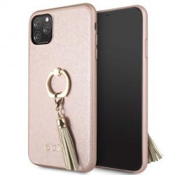 Guess iPhone 11 Pro Max Saffiano Ring Hülle rosegold GUHCN65RSSARG
