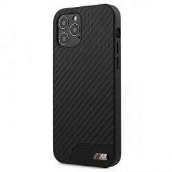 BMW iPhone 12 Pro Max 6,7 M Carbon / Leder Schutzhülle Schwarz