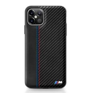BMW M Carbon / Leder Hülle iPhone 12 Pro Max 6,7 Schwarz BMHCP12LMCARBK