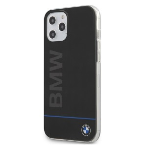 BMW Hard Case PC + TPU Blue Line Hülle iPhone 12 Pro Max 6,7 Schwarz BMHCP12LPCUBBK