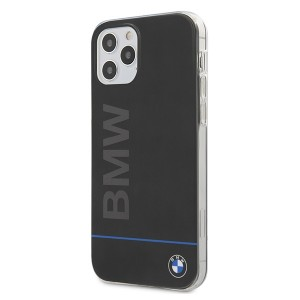 BMW Hard Case PC + TPU Blue Line Hülle iPhone 12 / 12 Pro 6,1 Schwarz BMHCP12MPCUBBK