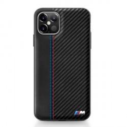 BMW M Carbon / Leder Hülle iPhone 12 mini 5,4 Schwarz BMHCP12SMCARBK