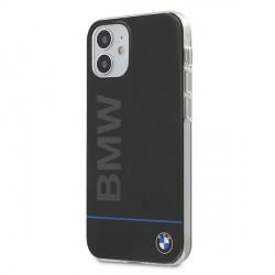 BMW Hard Case PC + TPU Blue Line Hülle iPhone 12 mini 5,4 Schwarz BMHCP12SPCUBBK