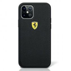 Ferrari iPhone 12 / 12 Pro 6,1 Off Track Perforiert PU Leder Hülle Schwarz FESPEHCP12MBK