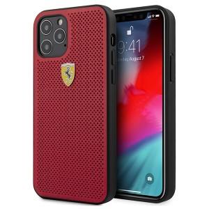 Ferrari iPhone 12 / 12 Pro 6,1 Off Track Perforiert PU Leder Hülle Rot FESPEHCP12MRE