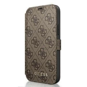 GUESS iPhone 12 / 12 Pro 6,1 Handytasche PU Leder 4G Charms Braun GUFLBKSP12M4GB