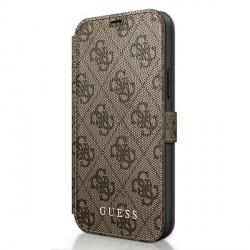 GUESS iPhone 12 mini 5,4 Handytasche PU Leder 4G Charms Braun GUFLBKSP12S4GB