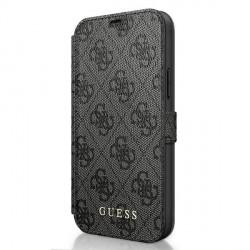 GUESS iPhone 12 mini 5,4 Handytasche PU Leder 4G Charms Grau GUFLBKSP12S4GG