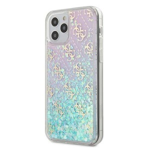 Guess iPhone 12 Pro Max 6,7 Hülle Gradient Liquid Glitter 4G Pink