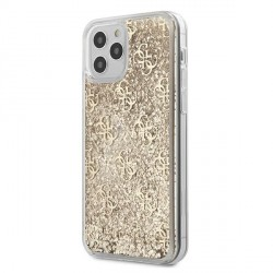 Guess iPhone 12 Pro Max Hülle / Cover / Case / Etui Gradient Liquid Glitter 4G Gold