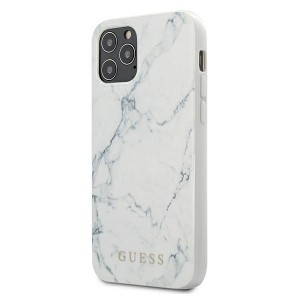"GUESS iPhone 12 6,7"" Pro Max Hülle Marble weiß GUHCP12LPCUMAWH"