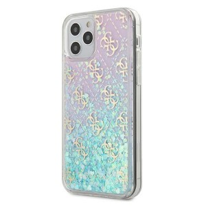 Guess iPhone 12 / 12 Pro 6,1 Hülle Gradient Liquid Glitter 4G Pink
