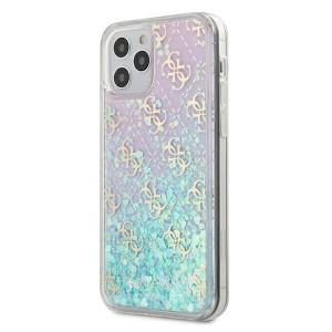 Guess iPhone 12 / 12 Pro 6,1 Hülle Gradient Liquid Glitter 4G Pink