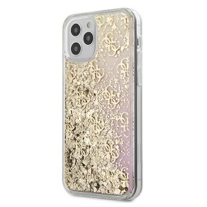 Guess iPhone 12 / 12 Pro 6,1 Schutzhülle Gradient Liquid Glitter 4G Gold