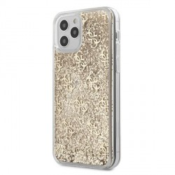 Guess iPhone 12 / 12 Pro 6,1 Hülle Gradient Liquid Glitter 4G Gold
