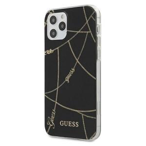 Guess iPhone 12 / 12 Pro 6,1 Schutzhülle Chain / Goldkette Schwarz