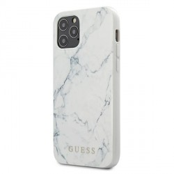 GUESS iPhone 12 / 12 Pro Hülle / Cover / Case / Etui Marble weiß