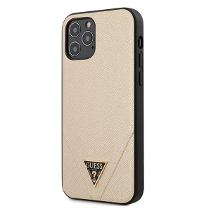 GUESS iPhone 12 / 12 Pro 6,1 Cover / Case / Hülle Saffiano Gold