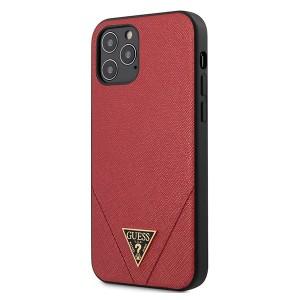 GUESS iPhone 12 / 12 Pro 6,1 Hülle Saffiano PU Leder rot GUHCP12MVSATMLRE