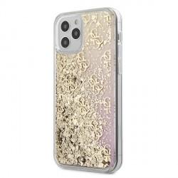 Guess iPhone 12 mini 5,4 Hülle Gradient Liquid Glitter 4G Gold