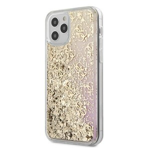 Guess iPhone 12 mini 5,4 Hülle Gradient Liquid Glitter 4G Gold