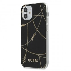 Guess iPhone 12 mini 5,4 Hülle Chain schwarz GUHCP12SPCUCHBK