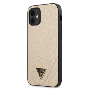 GUESS iPhone 12 mini 5,4 Cover / Case / Hülle Saffiano Gold