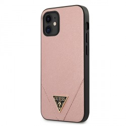 GUESS iPhone 12 mini 5,4 Hülle Saffiano PU Leder rose GUHCP12SVSATMLPI