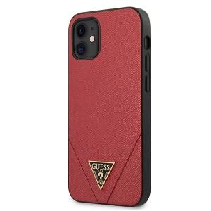 GUESS iPhone 12 mini 5,4 Hülle Saffiano PU Leder rot GUHCP12SVSATMLRE