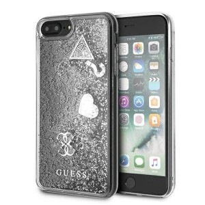 Guess iPhone 8 Plus / 7 Plus Hülle Glitter Charms silber GUOHCI8LGLHFLSI