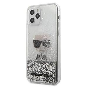 Karl Lagerfeld iPhone 12 Pro Max Hülle / Cover / Case Liquid Glitter Ikonik silber KLHCP12LGLIKSL