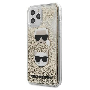 Karl Lagerfeld iPhone 12 Pro Max 6,7 Schutzhülle Liquid Glitter Karl & Choupette gold