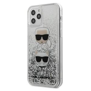 Karl Lagerfeld iPhone 12 Pro Max Hülle Liquid Glitter Karl & Choupette silber