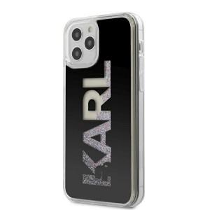 Karl Lagerfeld iPhone 12 Pro Max Hülle Liquid Glitter Karl Logo KLHCP12LKLMLBK