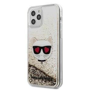 Karl Lagerfeld iPhone 12 Pro Max 6,7 Hülle Liquid Glitter Choupette gold