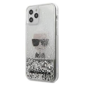 Karl Lagerfeld iPhone 12 / 12 Pro Hülle / Cover / Case Liquid Glitter Ikonik silber KLHCP12MGLIKSL