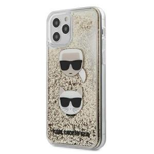 Karl Lagerfeld iPhone 12 / 12 Pro 6,1 Schutzhülle Liquid Glitter Karl & Choupette gold