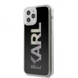 Karl Lagerfeld iPhone 12 / 12 Pro 6,1 Hülle Liquid Glitter Karl Logo schwarz