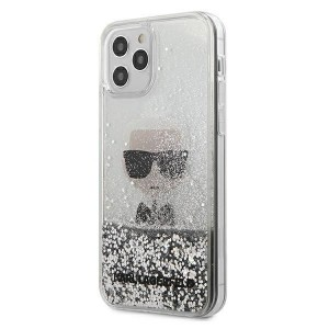 Karl Lagerfeld iPhone 12 mini Hülle / Cover / Case Liquid Glitter Ikonik silber KLHCP12SGLIKSL