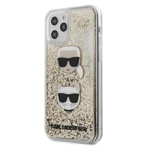 Karl Lagerfeld iPhone 12 mini 5,4 Schutzhülle Liquid Glitter Karl & Choupette gold