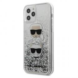 Karl Lagerfeld iPhone 12 mini Hülle Liquid Glitter Karl & Choupette silber KLHCP12SKCGLSL