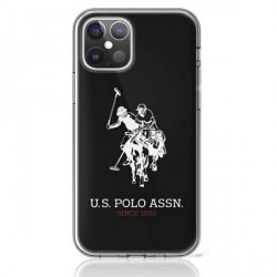 US Polo iPhone 12 / 12 Pro 6,1 Hülle Shiny Big Logo schwarz USHCP12MTPUHRBK