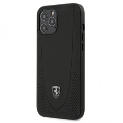 Ferrari iPhone 12 Pro Max 6,7 Off Track Perforiert Lederhülle Schwarz FEOGOHCP12LBK