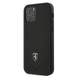 Ferrari iPhone 12 / 12 Pro 6,1 Off Track Perforiert Lederhülle Schwarz FEOGOHCP12MBK