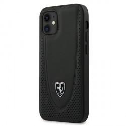 Ferrari iPhone 12 mini 5,4 Off Track Perforiert Lederhülle Schwarz FEOGOHCP12SBK