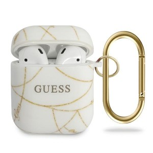 Guess AirPods Pro cover Chain Kollektion Goldkette GUACAPTPUCHWH Weiß Gold