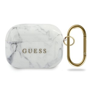Guess AirPods Pro Hülle / Cover / Case / Etui Marmor weiß
