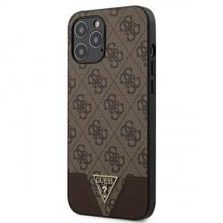 GUESS iPhone 12 Pro Max 6,7 Hülle Triangle PU Leder braun GUHCP12LPU4GHBR